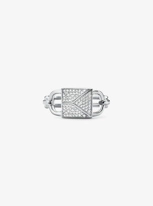 Michael Kors 14K Gold-Plated Sterling Silver Pave Oversized Mercer Lock Cocktail Ring