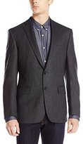 DKNY Men's Druce Herringbone 2 Button Slim Fit Sport Coat, Grey, 40/Short