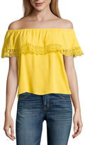 BY AND BY by&by Sleeveless Boat Neck Crepe Blouse-Juniors