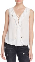 Ella Moss Miko Lace Up Gauze Top