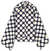 Awake Oversized Polka-dot Crepe De Chine Shirt - Navy