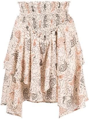 Etoile Isabel Marant Paisley-Print Tiered Mini Skirt