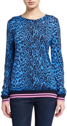 Neiman Marcus Superfine Leopard-Print Crewneck Striped-Trim Sweater