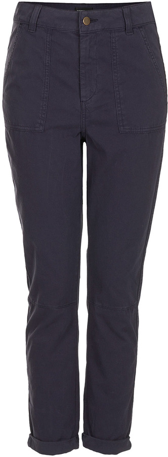 Topshop Washed Navy Chino Trousers