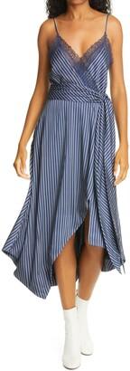 Jonathan Simkhai Lace Trim Faux Wrap Midi Dress