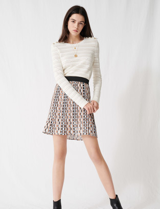 Maje Pleated mini skirt with graphic print
