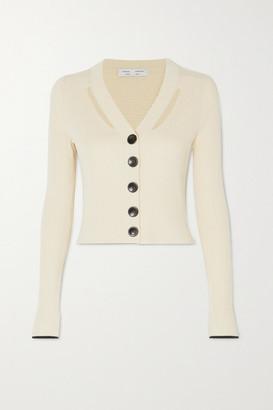 Proenza Schouler White Label Cutout Ribbed Silk And Cotton-blend Cardigan - Ecru