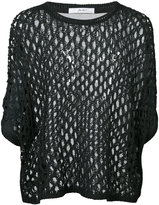 Julien David sheer panel knitted top - women - Silk/Cotton/Acrylic - One Size