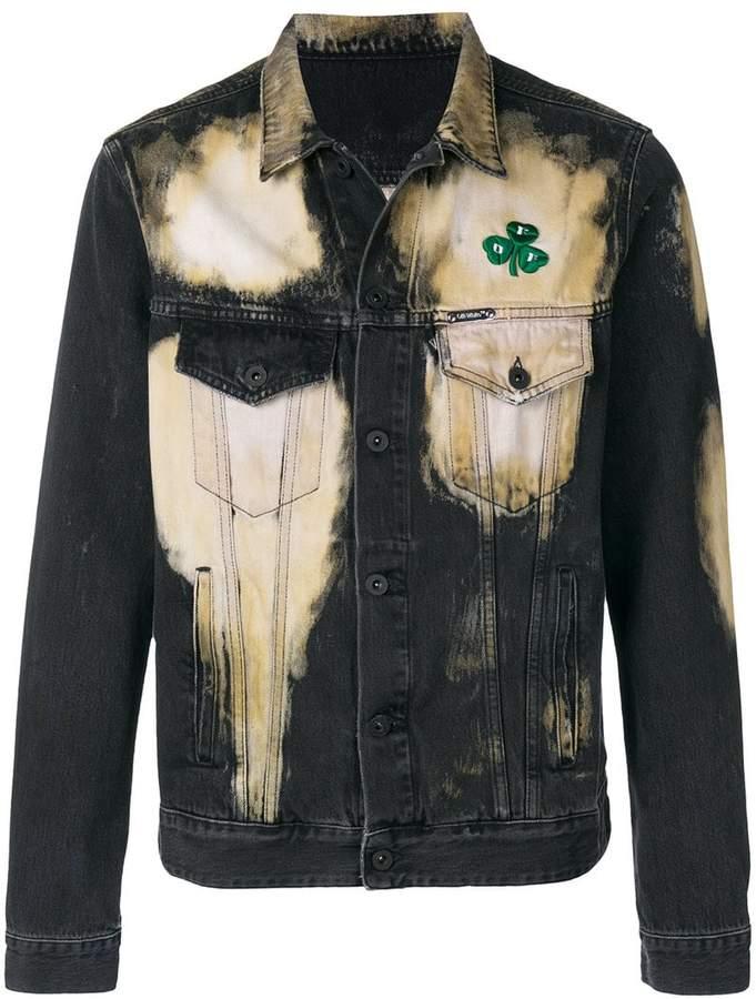 Off-White distressed bleach denim jacket
