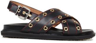 Marni Eyelet-embellished Leather Slingback Sandals