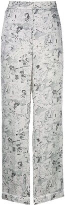 Off-White Sketch Print Straight-Leg Trousers