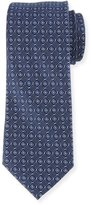 Neiman Marcus Textured Silk Tie, Navy/White