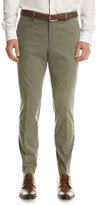 HUGO BOSS Stretch-Cotton Flat-Front Pants, Olive