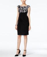 Connected Scroll-Print Draped Sheath Dress