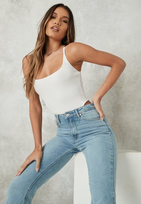 Missguided Petite White Transparent Strap Knitted Bodysuit