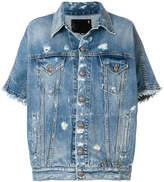 R 13 cropped sleeves denim jacket
