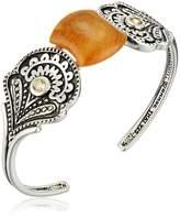 Barse Orange Coral Citrine Accents Cuff Bracelet