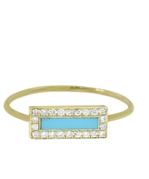 Jennifer Meyer Diamond Turquoise Inlay Ring - Yellow Gold