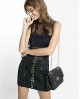 Express black and gold hook and eye mini skirt