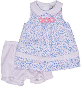 Florence Eiseman Sleeveless Floral Pique Dress w/ Bloomers, Blue, Size 3-24 Months