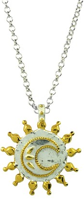 Annabelle Lucilla Jewellery Hammered Moon Coin Pendant Silver & Gold