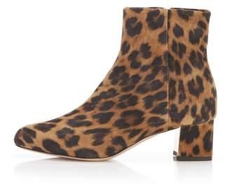 Marion Parke Tasha | Leopard Suede Block Heel Bootie With Zipper