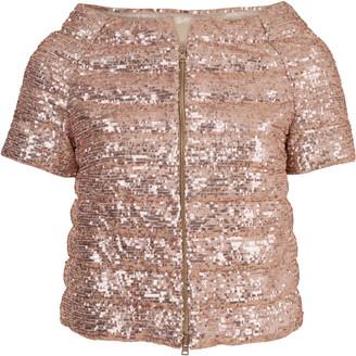 Herno Rose Gold Sequin Cap Sleeve Jacket