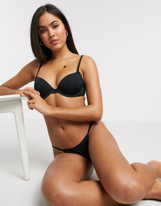 aerie real happy demi push up bra in black