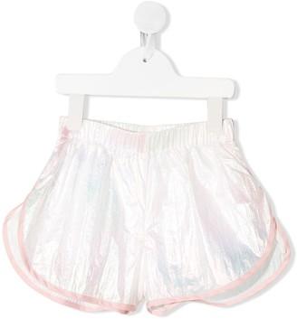 Raspberry Plum Ama iridescent wide-leg shorts