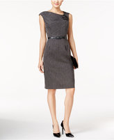 Connected Asymmetrical Belted Rosette Sheath Dress