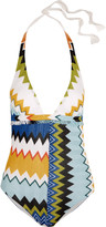 Missoni Mare fringed metallic crochet-knit halterneck swimsuit