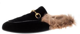 Gucci Black/Brown Velvet and Fur Lined Princetown Flat Mule Size 44