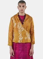 Swati Kalsi Men's Silk Short Embroidered Wrap Jacket In Orange