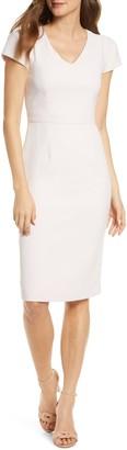 Rachel Parcell Short Sleeve Crepe Sheath Dress