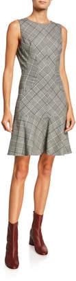 Proenza Schouler Plaid Wool Sleeveless Flounce Dress
