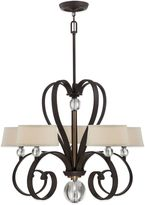 Quoizel Uptown Madison Manor 5-Light Chandelier in Bronze with Fabric Shades