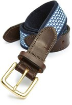 Vineyard Vines 'Whale Club' Leather & Canvas Belt