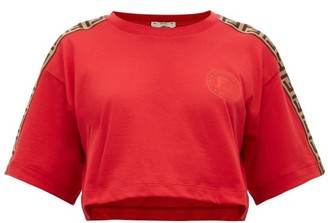 Fendi Logo-trimmed Cropped Cotton T-shirt - Womens - Red