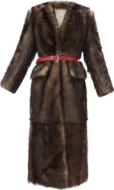 Prada Single-breasted Belted Shearling Coat - Grey Multi