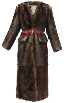Prada Single-breasted Belted Shearling Coat - Grey Multi