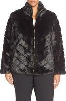 Ellen Tracy Chevron Grooved Faux Fur Coat (Plus Size)