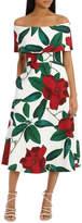 'Floral Allure Dark Rose' Off Shoulder Dress