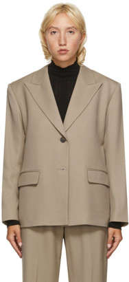 Arch The Beige Wool Boxy Blazer