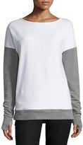 Blanc Noir Cross-Back Colorblock Sweatshirt, White/Medium Gray Heather