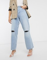 Asos Design DESIGN High rise 'relaxed' dad jeans in vintage light wash with rips