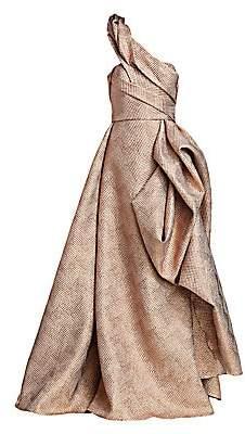 Rubin Singer Women's Asymmetric Metallic Cloque Ball Gown