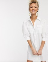 Pieces shirt dress with puff sleeves and pocket details in white