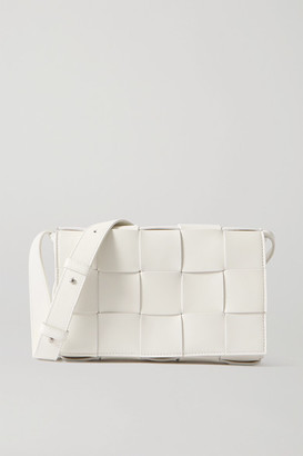 Bottega Veneta Cassette Intrecciato Leather Shoulder Bag - White
