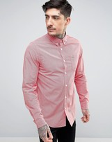Lacoste Slim Fit Check Shirt 2 Tone Stretch Poplin in Red