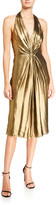 Halston Foiled Georgette Ruched Halter Dress